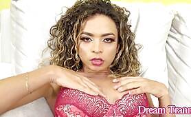 Tgirl Bruna Silva Covers Herself in Cum