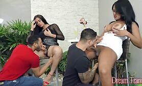 Two Tgirls Get Creampied in Hot Foursome